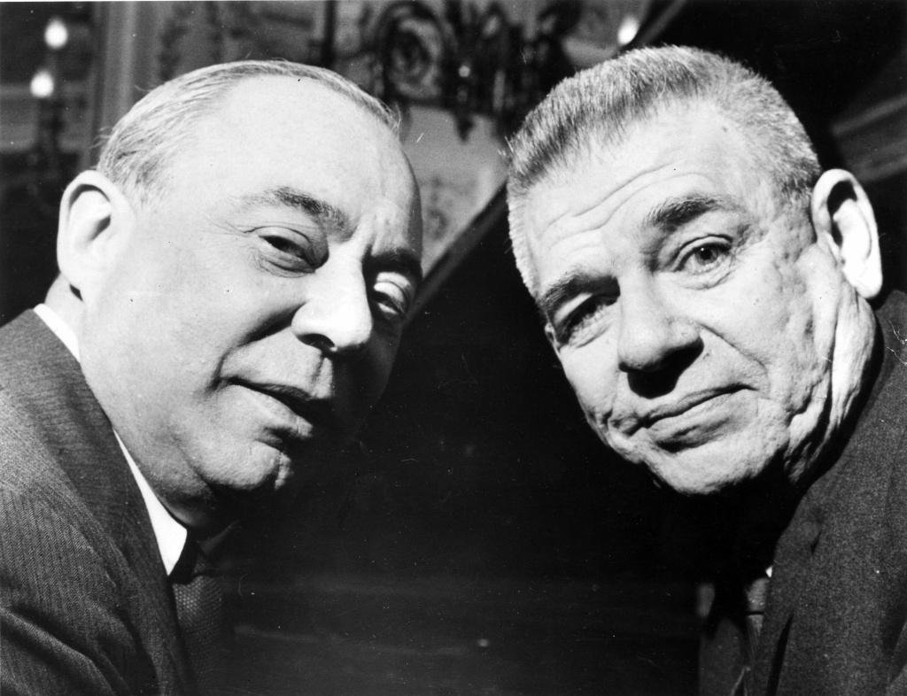 Richard Rodgers and Oscar Hammerstein on March 9, 1960 in London to promote their new show 'Flower Drum Show'.