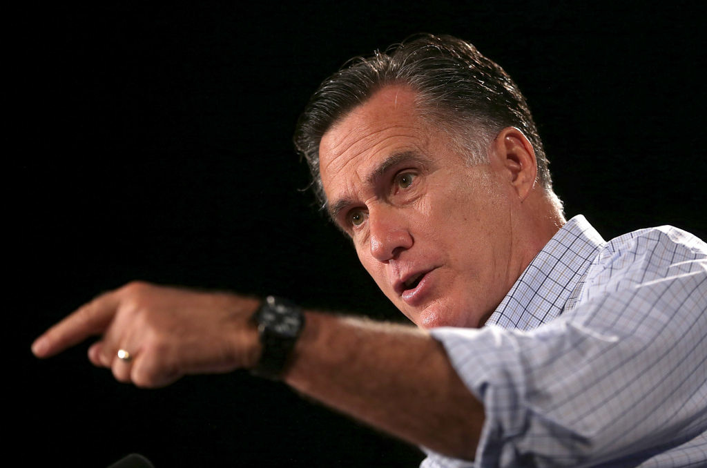 Republican presidential candidate and former Massachusetts Gov. Mitt Romney speaks during a campaign event at Central Campus High School on August 8, 2012 in Des Moines, Iowa.