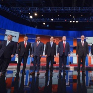 Republican presidential candidates arrive on stage for the Republican presidential debate on August 6, 2015 at the Quicken Loans Arena in Cleveland, Ohio.