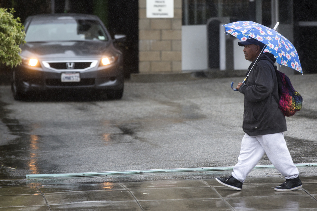 Rain falls over Pasadena on Tuesday, Jan. 5, 2015. A series of storms is expected to dump up to six inches of rain on the Southland this week.