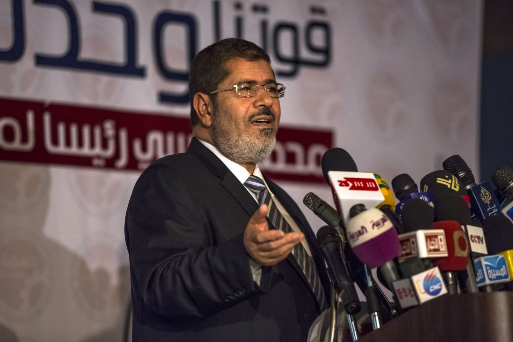 Egyptian president-elect Mohamed Morsi of the Muslim Brotherhood speaks at a press conference on June 13, 2012 in Cairo, Egypt.