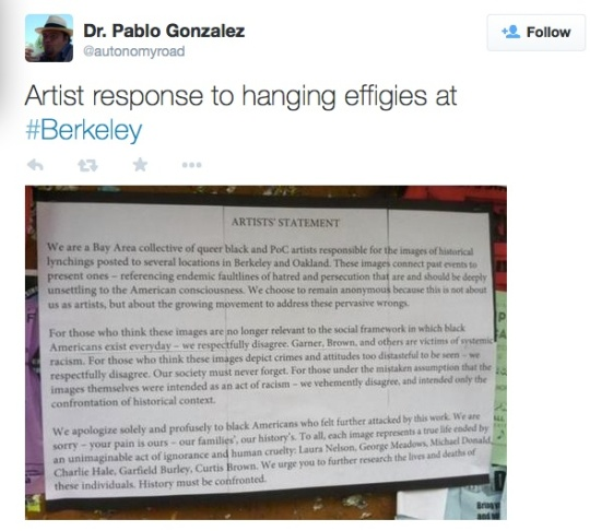 Dr. Pablo Gonzalez, a professor of Chicana and Chicano Studies at UC Berkeley posted this image on his Twitter account. He said the image was passed along to him by a student who saw the artist statement posted on a bulletin board on campus. Credit: Twitter account of Dr. Pablo Gonzalez, UC Berkeley