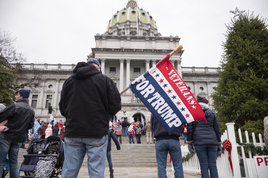 President Trump's supporters gather Tuesday on the steps at the Pennsylvania state Capitol in Harrisburg.