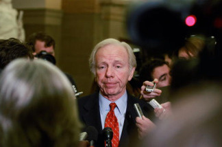 Sen. Joseph Lieberman (I-CT) speaks to reporters about the health care reform bill on December 15, 2009 in Washington, DC.