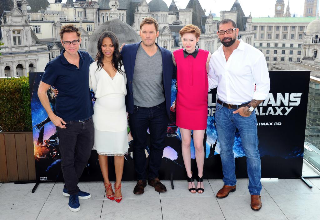 James Gunn, Zoe Saldana, Chris Pratt, Karen Gillan and David Bautista attends the