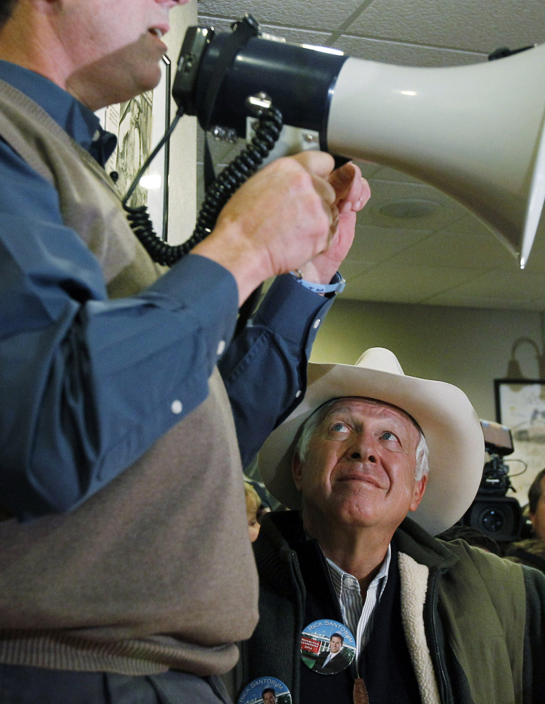 Supporter of Republican presidential candidate former Pennsylvania Sen. Rick Santorum, Foster Friess, during a meet and greet campaign stop at Pizza Ranch, Monday, Jan. 2, 2012, in Altoona, Iowa.