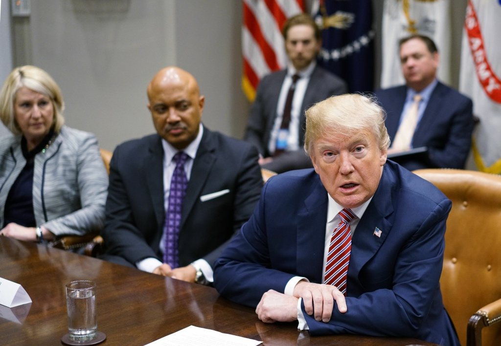 US President Donald Trump speaks during a meeting with state and local officials on school safety in the Roosevelt Room of the White House on February 22, 2018 in Washington, DC.