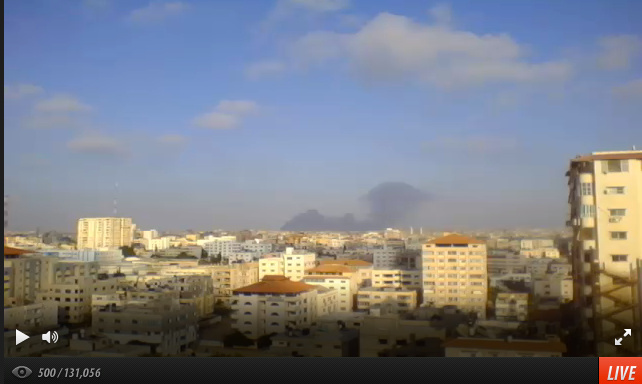 Screen grab taken from the livestream video by Jehad Saftawi on July 23, 2014, Gaza City. Jehad and his wife, Lara Aburamadan, still live in the same 11th floor apartment in Gaza City.