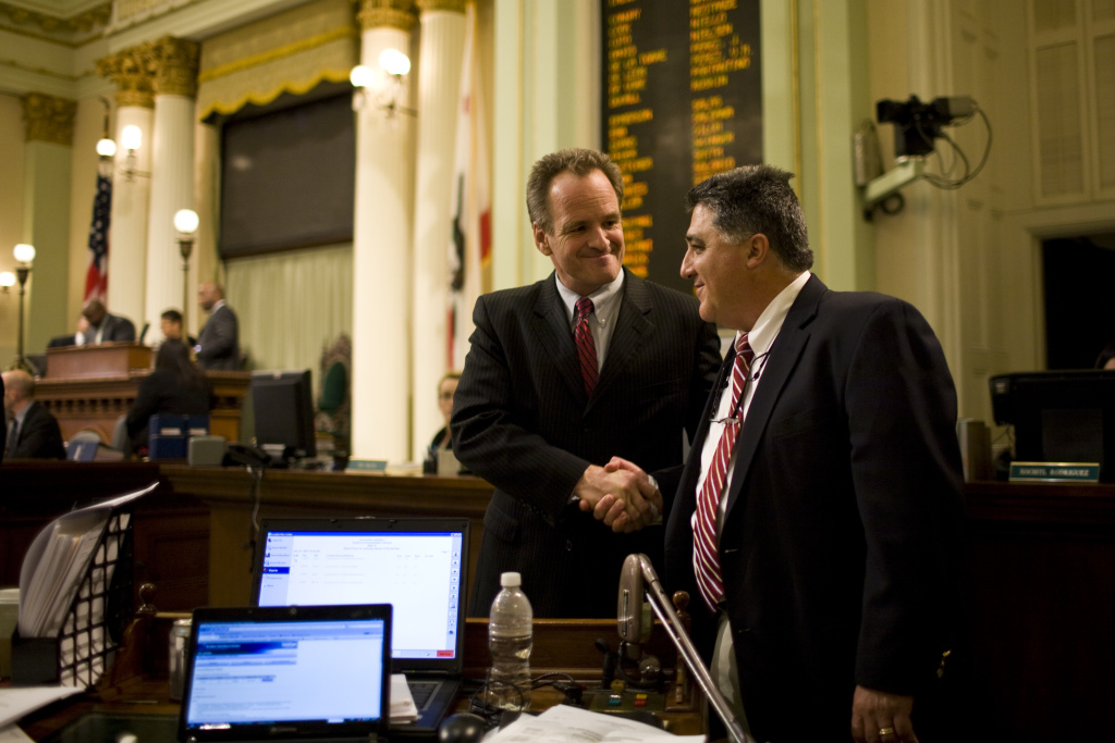 Assemblyman Anthony Portantino (D-La Cañada-Flintridge), right, authored a bill that bans the open carrying of long guns. The bill expands a previous ban that applied only to handguns.