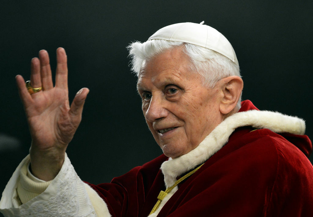This file picture taken on December 29, 2012, in St.Peter's square at the Vatican shows Pope Benedict XVI saluting as he arrives to the ecumenical christian community of Taize during their European meeting. Pope Benedict XVI on February 11, 2013 announced he will resign on February 28, a Vatican spokesman told AFP, which will make him the first pope to do so in centuries.