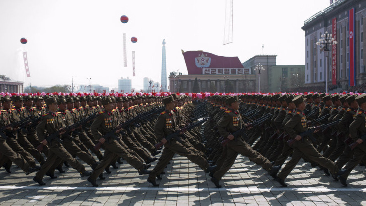 North Korean soldiers march during a military parade to mark 100 years since the birth of North Korea's founder Kim Il Sung in Pyongyang on April 15. It was supposed to be the year North Korea would become a