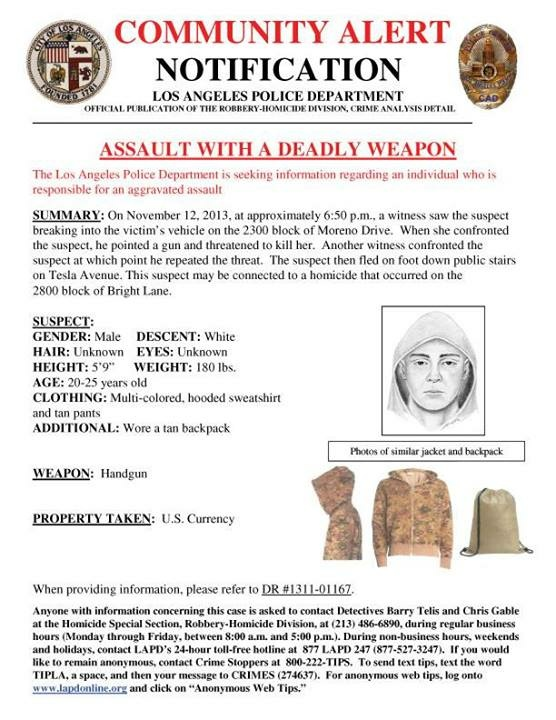 This LAPD alert includes a sketch of a suspect possibly connected with the murder of Assemblyman Mike Gatto's father, Joseph Gatto.