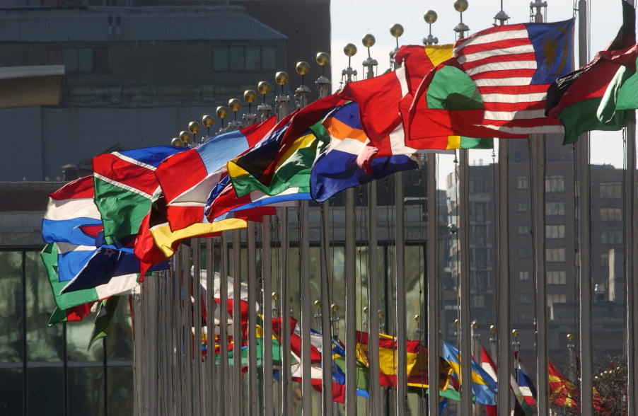 Flags of member nations flying at United Nations Headquarters. UN Photo: Joao Araujo Pinto