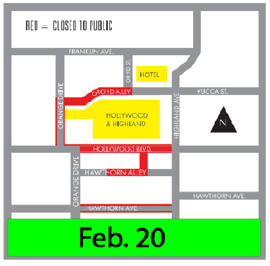 Areas marked in red will be closed from 10 p.m. Feb. 20 to 6 a.m. March 1.