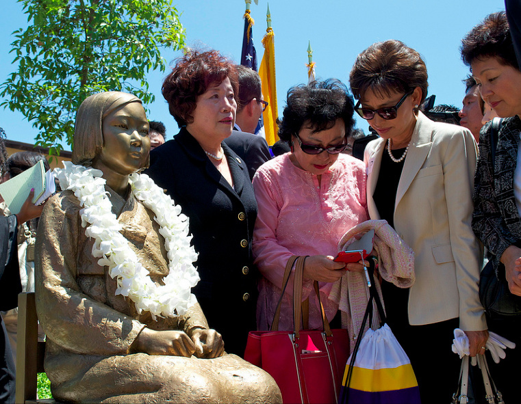 A statue remembering the sexual slavery of women by the Japanese army in World War II was publicly unveiled in July 2013 in Glendale, Calif.