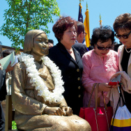 A statue commemorating the sexual slavery of Korean women by the Japanese army in the 1930s and World War II was unveiled in July 2013 in Glendale, Calif.