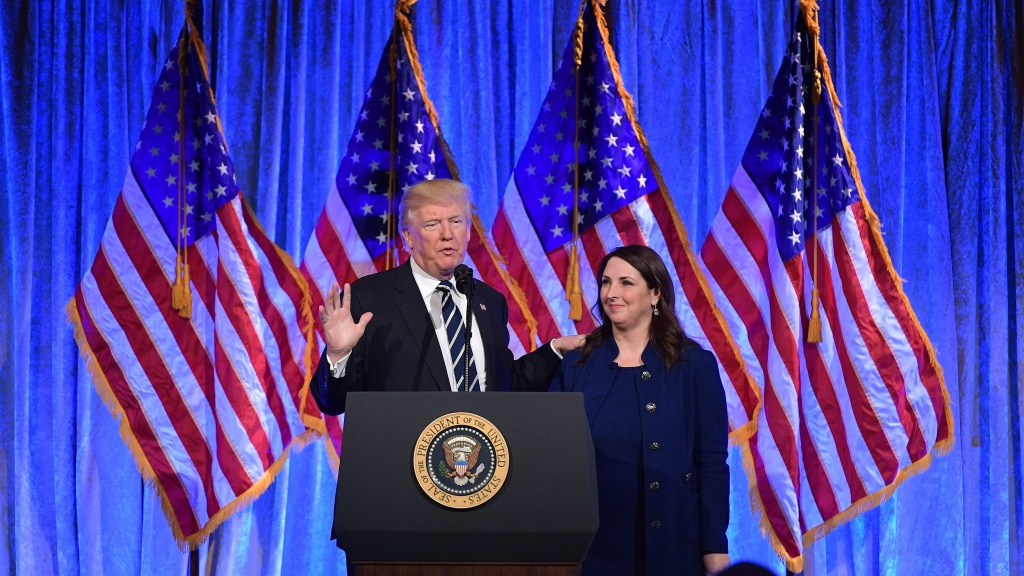 President Trump and Republican National Committee Chairwoman Ronna McDaniel appear at a New York fundraiser in 2017.