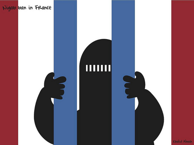 Illustration of the nagab ban in France passed in 2010. The law prohibits veils and other face coverings in public places. In 2004, the country passed a similar law banning conspicuous religious symbols such as Islamic headscarves in schools.