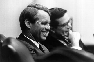 Sen. Robert F. Kennedy with his aide Theodore Sorenson April 3, 1968.