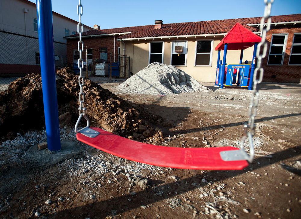 A playground for kindergarten students under construction. It's being build in part with capital appreciation bonds.