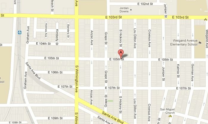East 105th and Hickory streets in Watts, where a 1-year-old baby was shot and killed on Monday, June 4, 2012.