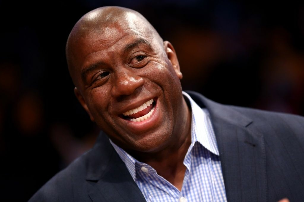 Los Angeles Lakers Hall of Fame player and current part owner of the Los Angeles Dodgers Magic Johnson attends the game with the Dallas Mavericks at Staples Center on Oct. 30, 2012 in Los Angeles.