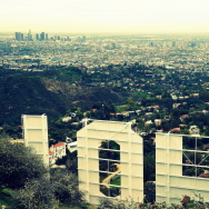 Downtown Los Angeles from behind the Hollywood Sign