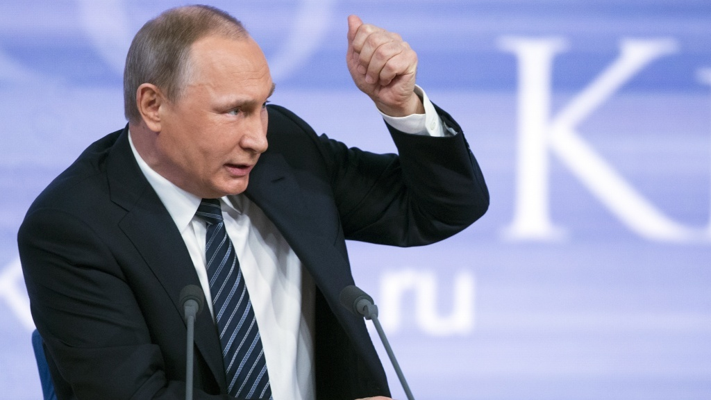 Russian President Vladimir Putin delivers his annual year-end news conference in Moscow.