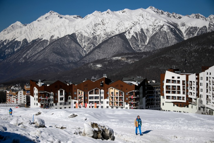 General view taken on February 4, 2014 showing the Mountain Olympic Village at the Rosa Khutor Alpine centre prior to the start of the 2014 Sochi Winter Olympic Games.