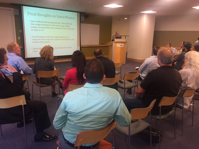 Business owners attend a presentation on a potential minimum wage hike in Santa Monica at the Santa Monica Public Library (August 12, 2015)
