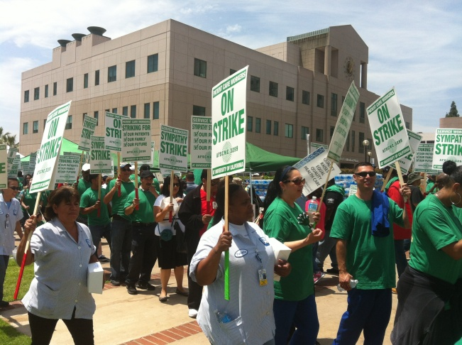 Health workers strike outside of UCLA on May 21st, 2013. The American Federation of State, County and Municipal Employees (AFSCME) union is battling management over staffing and pension issues at facilities in San Diego, Orange, Los Angeles, Santa Monica, San Francisco and Sacramento.