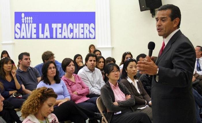 Mayor Villaraigosa speaks and listens to parents and teachers at an L.A. elementary school about the impending school district's budget cuts.