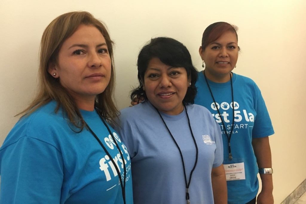 Parents Maribel Cepeda, Luz Hernández and Lety Ortiz (left to right), are some of the leaders of the Culture of Respect campaign that local neighborhood groups are promoting in an effort to confront violence in the home and community.