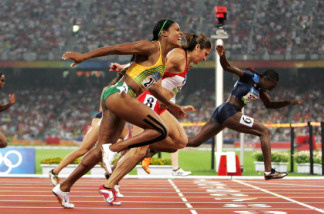 Dawn Harper of the United States crosses the line to win the Women's 100m Hurdles Final held at the National Stadium on Day 11 of the Beijing 2008 Olympic Games on August 19, 2008 in Beijing, China.