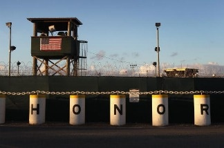 A U.S. military guard tower stands on the perimeter of the U.S. detention center in Guantanamo Bay, Cuba.