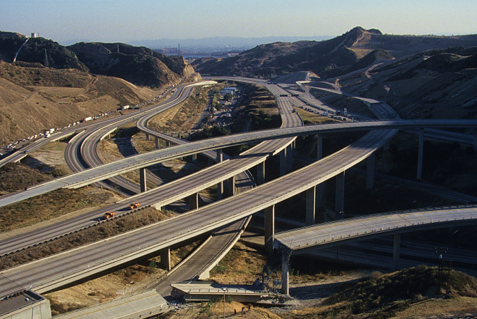 The 14 and 5 freeway connector saw damage in two places during the Northridge Earthquake on Jan. 17, 1994.