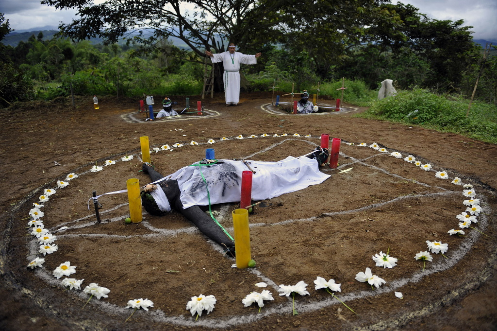 Hermes Cifuentes, 50, aka Brother Hermes, performs an exorcism on June 1, 2011, in La Cumbre, Valle del Cauca department, Colombia.