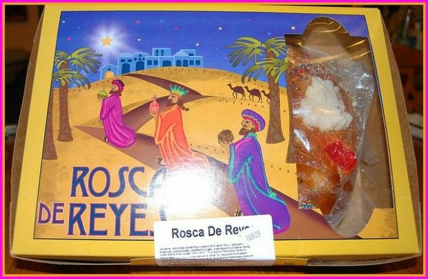 A colorful Three Kings-themed box for a Rosca de Reyes, January 2009
