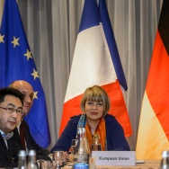 EU political director Helga Schmid (CL) seats next to Iran's deputy foreign minister Abbas Araqchi (R) at the opening of nuclear talks between Iran and Members of the P5+1 group on March 5, 2015 in Montreux. The so-called P5+1 group of Britain, China, France, Russia, the United States and Germany is trying to strike an accord that would prevent Tehran from developing a nuclear bomb.