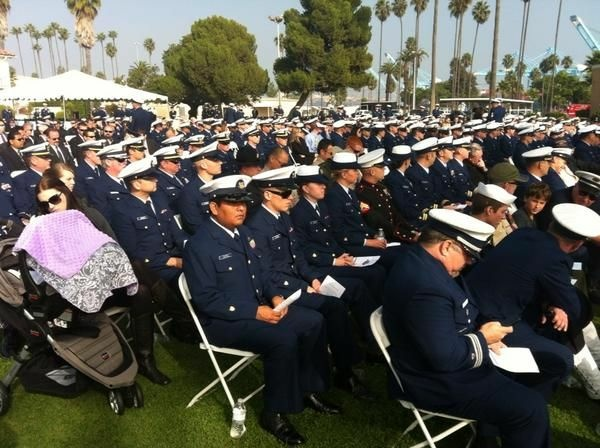 Dozens of US Coast Guard members pay respects to slain Chief Petty Officer Terrell Horne at Terminal Island memorial, Dec. 8, 2012.