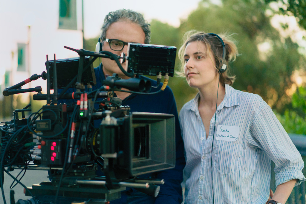 Cinematographer Sam Levy and writer-director Greta Gerwig on the set of LADY BIRD. Photo by Merie Wallace, courtesy of A24