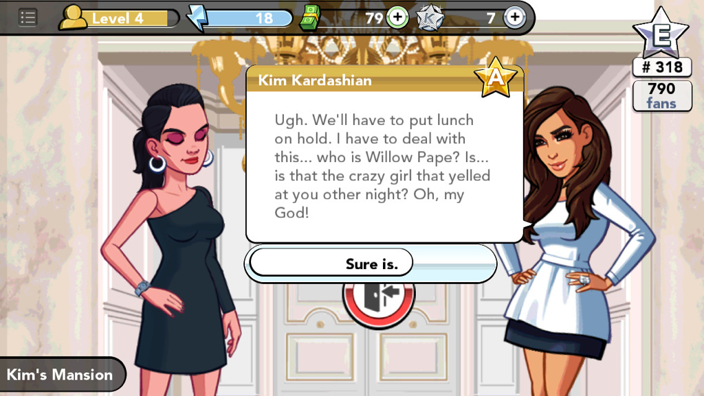 My character interacting with Kim in