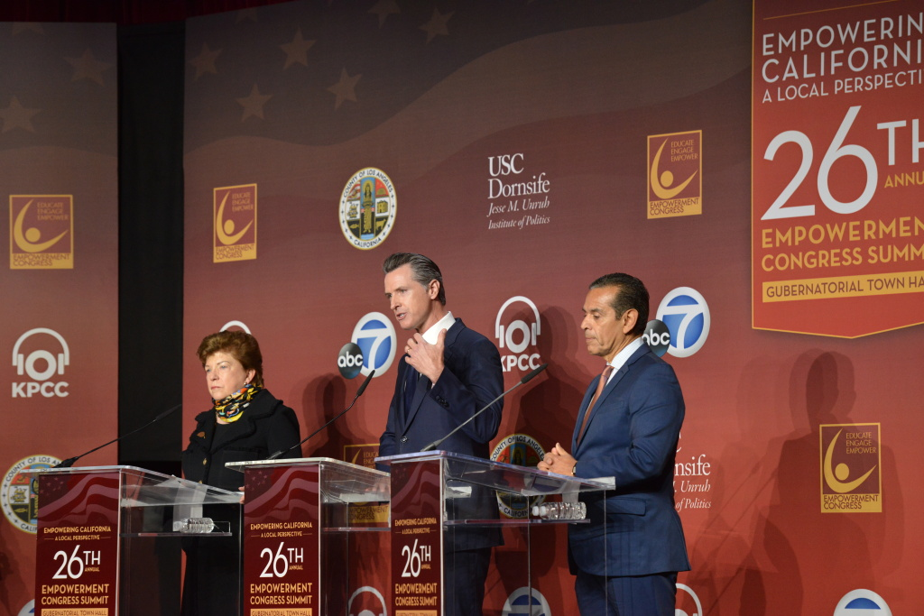 From left, gubernatorial candidates Delaine Eastin, Gavini Newsom and Antonio Villagaigosa on stage at the 26th Annual Empowerment Congress Summit at |USC on Jan. 13, 2018.