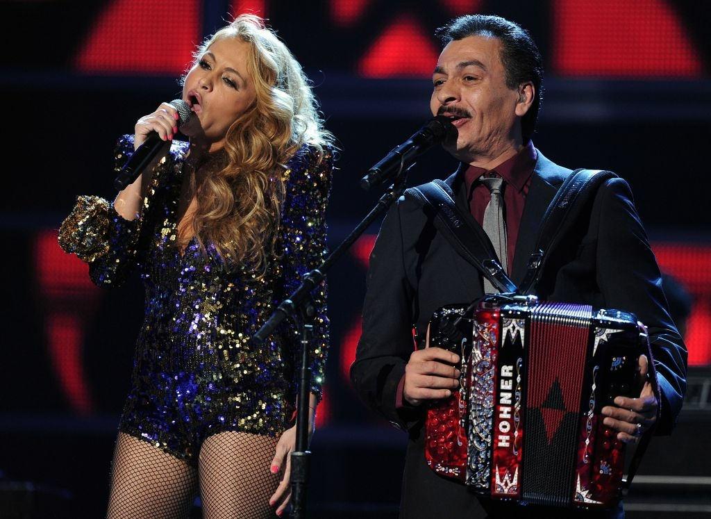 Mexican singer Paulina Rubio performs with Los Tigres Del Norte during the 12th Annual Latin Grammy Awards in Las Vegas, Nevada, on November 10, 2011.