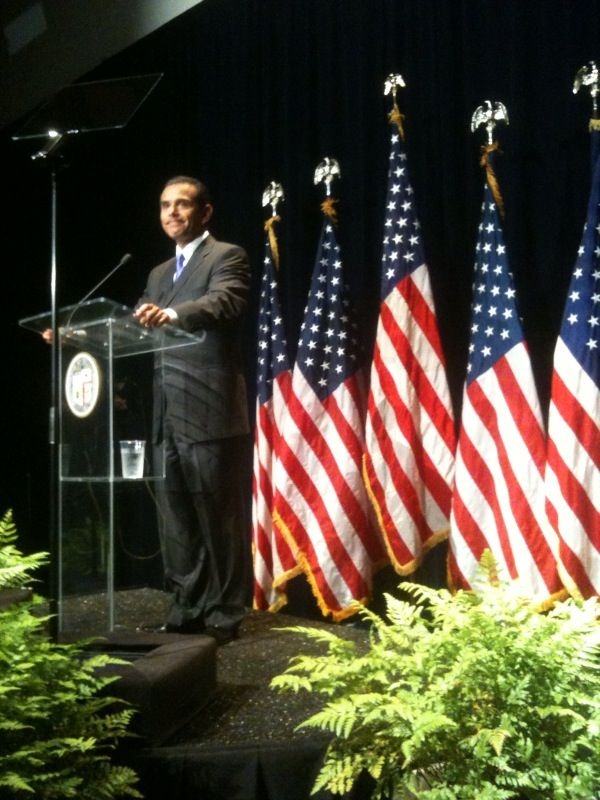 Mayor delivers his State of the City address April 20, inside the auditorium at the new police headquarters.