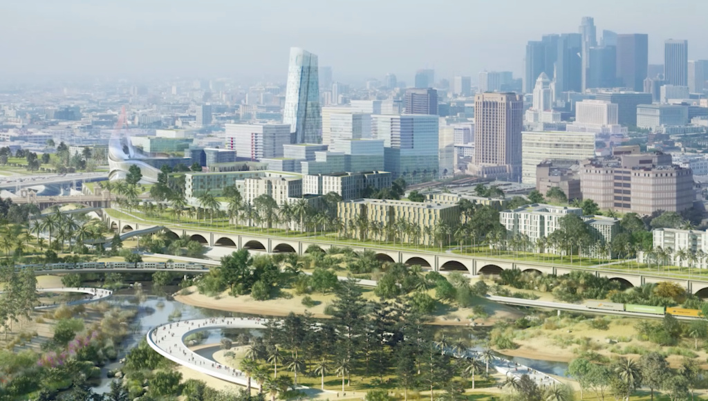 AECOM, a multinational construction and engineering company, released its plan for remaking hundreds of acres of land alongside the Los Angeles River through downtown. The view is from the Piggyback Yard, a 120-acre active rail yard the company would like remake with cleaner trains and a smaller footprint leaving green space for the public