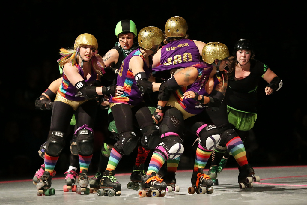 Competitors from Team Unicorn and the D'Viants compete during Bout One of the Sydney Roller Derby League on May 11, 2013 in Sydney, Australia.