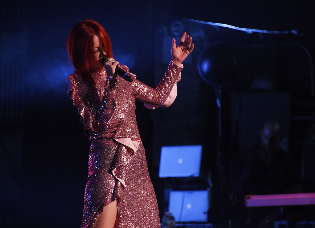 Singer Shirley Manson of Garbage performs during The Rage And Rapture Tour at The Beacon Theatre on August 1, 2017 in New York City.