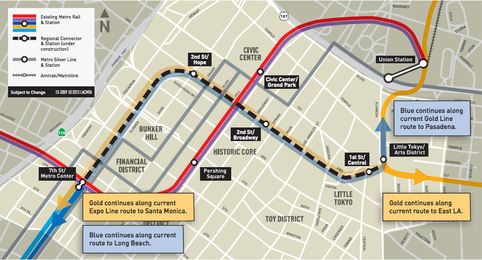 A Metro map shows the course of the Regional Connector light rail project, scheduled to open in 2020.