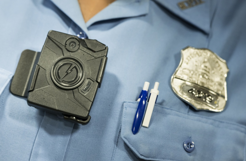 A body camera from Taser is seen during a press conference at City Hall in this September 24, 2014 file photo taken in Washington, DC. Pasadena police are seeking public input on their own plan to equip officers with body-worn cameras.